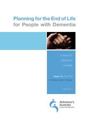 Planning for the End of Life for People with Dementia