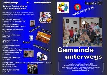 Gemeinde unterwegs 2-2007 - Evangelische Schaustellerseelsorge