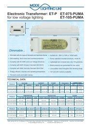 Electronic Transformer: ET-P for low voltage lighting ... - Mode Lighting