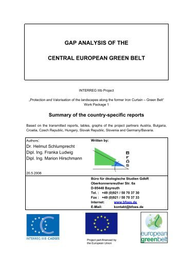 GAP ANALYSIS OF THE CENTRAL EUROPEAN GREEN BELT