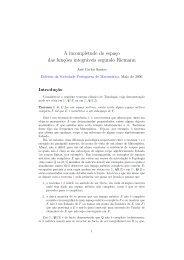 A incompletude do espaço das funções integráveis segundo Riemann