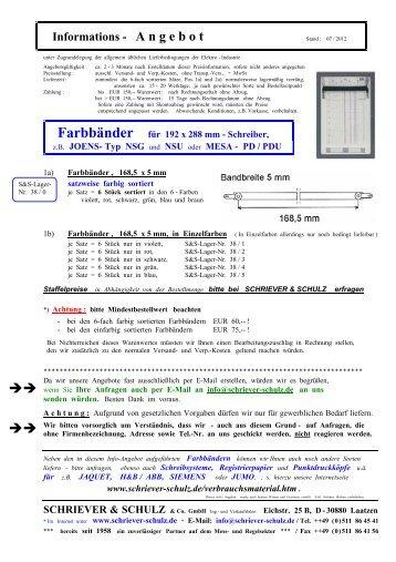 Informations - A ngebot - SCHRIEVER & SCHULZ & Co. GmbH