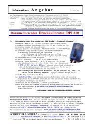 Dokumentierenderi Druckkalibrator DPI 610 - SCHRIEVER ...