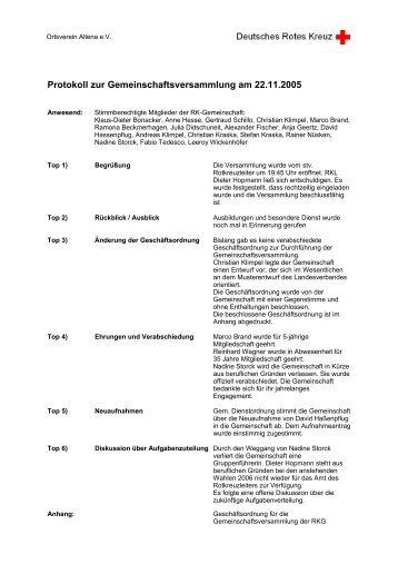 Protokoll zur Gemeinschaftsversammlung am 22.11.2005