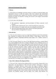 Collection Development Policy - Cambridge University Library ...