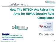 How The HITECH Act Raises the Ante for HIPAA ... - Datamountain