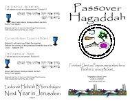 Passover Hagaddah for Churches - Congregation Yeshuat Yisrael
