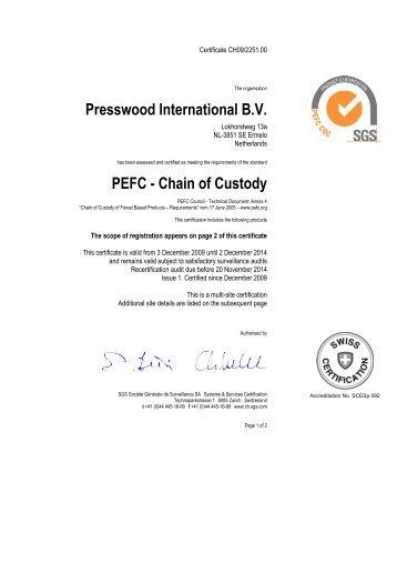 Presswood International B.V. PEFC - Chain of Custody - Euroblock