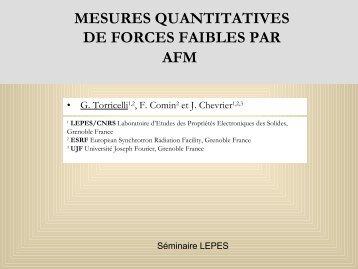 Mesures quantitatives de forces faibles par AFM - CNRS