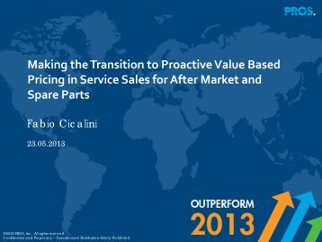 Transition to Proactive Value Based Pricing for Service ... - Pricing2B