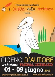 Opuscolo Piceno d'Autore con programma dettagliato