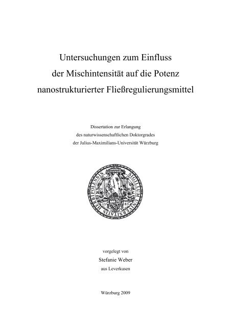 Untersuchungen zur - OPUS - Universität Würzburg