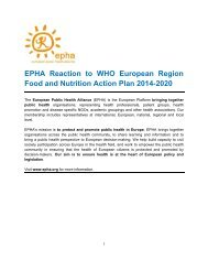 EPHA Reaction to WHO European Region Food and Nutrition Action ...