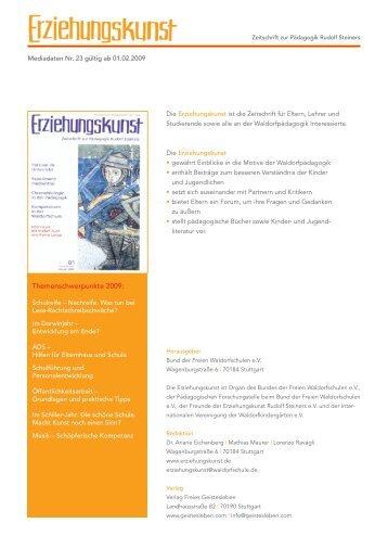Themenschwerpunkte 2009: - Verlag Freies Geistesleben