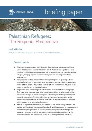 Palestinian Refugees - Chatham House