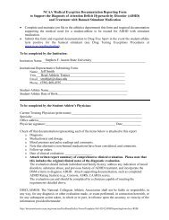NCAA Medical Exception Documentation Reporting Form to Support ...