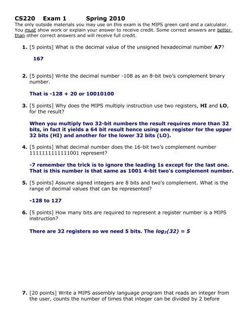 Sample Exam 1 Solution