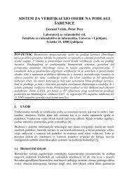 sistem za verifikacijo osebe na podlagi Å¡arenice - Univerza v Ljubljani
