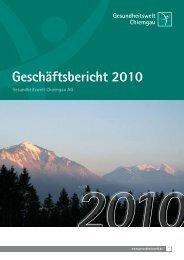 Geschäftsbericht 2010 - Gesundheitswelt Chiemgau