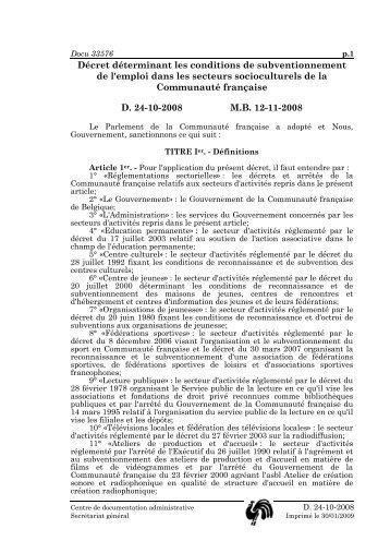 Décret Emploi 24.10.2008 - Education permanente