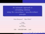 An axiomatic approach to outranking relations using the ... - Lamsade