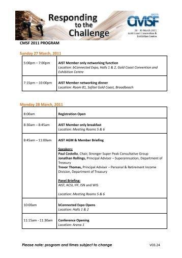 CMSF 2011 PROGRAM Sunday 27 March, 2011 Monday 28 March ...
