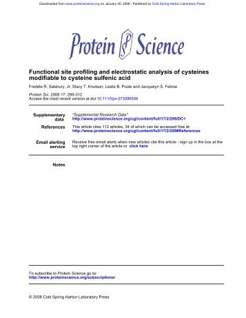 modifiable to cysteine sulfenic acid Functional site profiling and ...