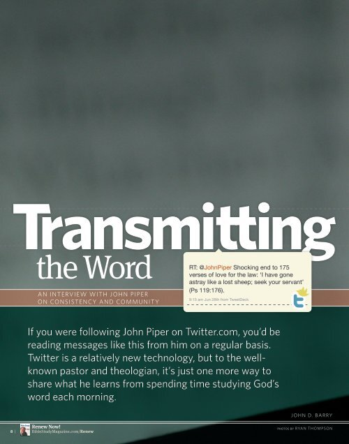 InTervIew wITh John PIPer - Bible Study Magazine