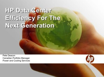 HP Data Center Efficiency For The Next Generation