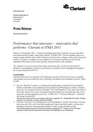 innovation that performs: Clariant at ITMA 2011