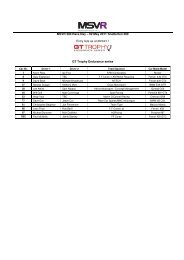 MSVR 300 Race Day – 02 May 2011 Snetterton 300 Entry lists as at ...