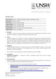 Policy Name UNSW Foundation Studies Attendance Policy Policy ID ...