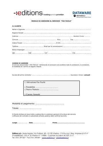 Attivazione Fax Facile Portabilità ... - Editions Srl