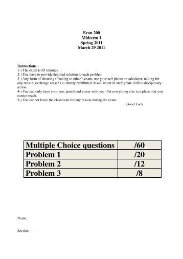 Multiple Choice questions /60 Problem 1 /20 Problem 2 /12 Problem ...