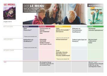 LE MENU Wochenplan Dezember 2010