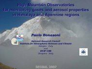 High Mountain Observatories for monitoring gases and aerosol ...