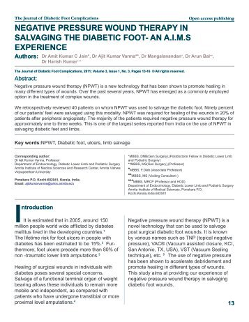 negative pressure wound therapy in salvaging the diabetic foot