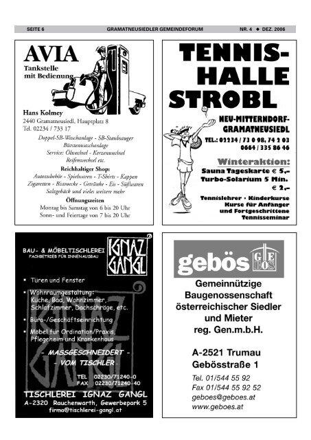 Gemeindeforum 4/06 (0 bytes) - Marktgemeinde Gramatneusiedl