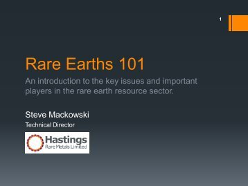 Rare Earths 101 - Hastings Rare Metals Limited