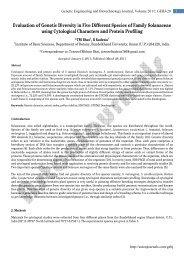 Evaluation of Genetic Diversity in Five Different ... - AstonJournals