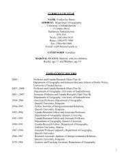 Download Evelyn Peters' CV. - Johnson-Shoyama Graduate School ...