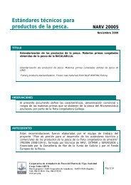 Estándares técnicos para productos de la pesca. NARV 20005 - Arvi