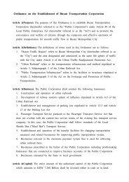Ordinance on the Establishment of Busan Transportation Corporation