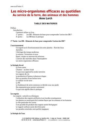 Table des matières - Le Souffle d'Or