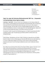 Kooperation mit Rechteinhaber Infront Sports & Media - Sport1
