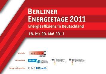 Berliner 18. bis 20. Mai 2011 Energieeffizienz in Deutschland