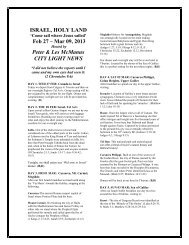 Israel 2013 Itinerary - City Light News