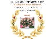 PALMARES EXPO ROSE 2013 - Grasse