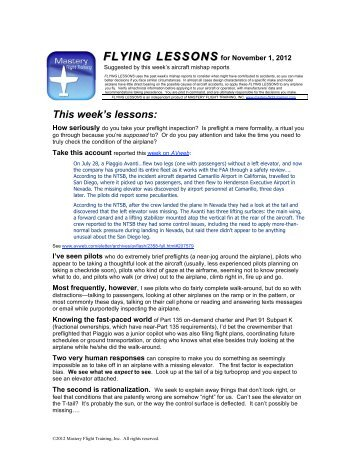 FLYING LESSONS for November 1, 2012 - Mastery Flight Training