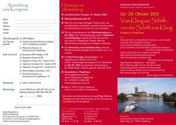 EPTA-Kongress Magdeburg: Vom Klang zur Schrift